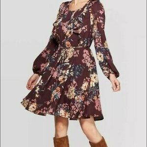 NWT Maroon Floral Long Sleeve Tie Shirt Dress New